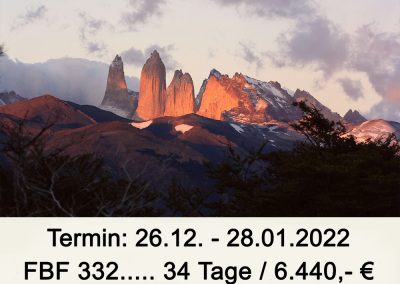 FBF 332 Große Chiletour  –  Patagonien – Kleiner Süden – Atacama Wüste